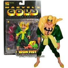Toy Biz Year 1997 Marvel Comic MARVEL'S GOLD Series 5-1/2 Inch Tall Action Figure - IRON FIST with Pair of Fury Fist