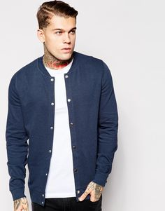 ASOS Bomber With Snaps In Navy
