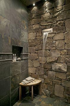 Rustic Natural Bathroom Wall Stone #Rustic #Bathrooms