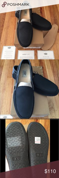 Brand New in Box Ugg Brysen Mens Leather Slippers Brand New in Box 100% Authentic Ugg Brysen Mens Leather Slippers. Black leather with grey suede and fleece inserts. Also comes with extra leather inserts to switch out with the fleece inserts. Size 9 shipped brand new in box with all authentication cards. UGG Shoes Loafers & Slip-Ons