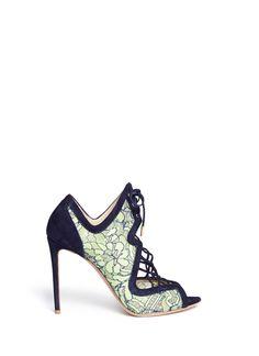NICHOLAS KIRKWOOD - 'Ava' lace suede sandal booties | Multi-colour High Heel Boots | Womenswear | Lane Crawford - Shop Designer Brands Online