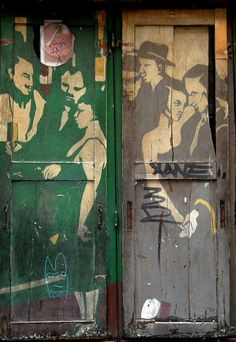 door with grafitti, paris