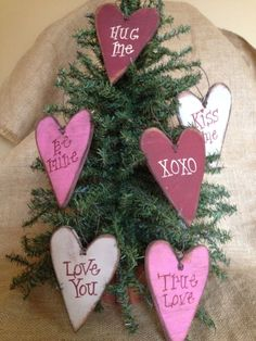 6 Primitive Asst Color Valentines Day Conversation Heart Wood Hanging Ornaments #CountryValentine #DoughandSplinters
