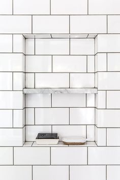 This little marble shelf was a fun detail we installed in the shower.
