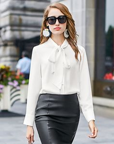 #AdoreWe #VIPme Blouses & Shirts - MEETLADY White Bowknot Neckline Button Down Dress Shirt - AdoreWe.com