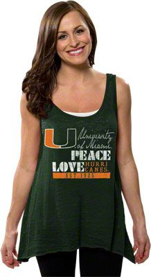 Miami Hurricanes Women's Forest Green Beach Love Hi-Low Burnout Tank Top
