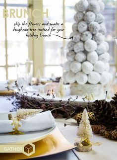 Donut hole tree for a holiday brunch