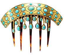 Magnificent French Gold Turquoise Hair Comb