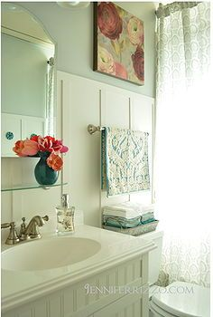 our light and bright before and after bathroom, bathroom ideas, home decor, batten board treatment new vanity and thrifted mirror cabinet from the Salvation Army