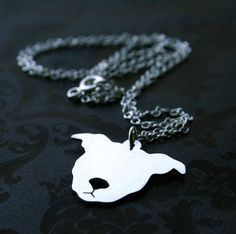 Sterling PIttbull face Necklace $48