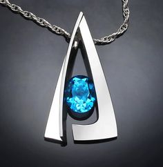 Swiss blue topaz necklace - December birthstone pendant- statement necklace - contemporary jewelry - gemstone jewelry - 3483