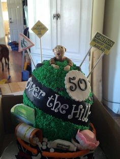 Over the Hill - * 70th Birthday Cake For Men, 70th Birthday Parties, Wedding Dj, Wedding Cakes, Over The Hill Cakes, Motorcycle Cake, Gag Gifts, Cake Decorating, Decorating Ideas