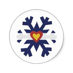 I Heart Colorado Flag Snowflake Round Sticker