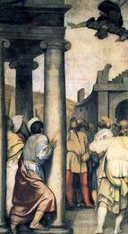 Storie di Simon Mago. Commissionate dai Canonici di San Giorgio.in Alga di San Pietro in Oliveto. Si riferisce alla lotta contro gli eretici. Ora al Museo Diocesano. 1550
