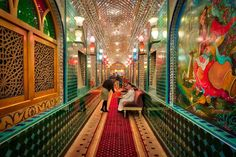 Here's the inside of that most incredible restaurant, Parisa. The manager told me that a bunch of women flew in from Iran to do all the glass decorations and it took them over three years. And guess what, this is JUST the hallway! Wait till you see the main room! I'll save that for a later post. - Doha, Qatar - Photo from #treyratcliff Trey Ratcliff at http://www.StuckInCustoms.com