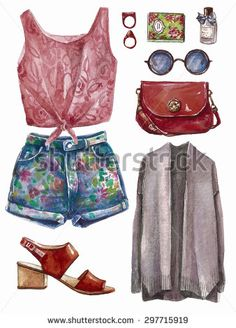 Vector hand drawn collage of summer spring girl clothing and accessories…