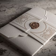 Gold Wax Seal (on the Victoriana Baroque letterpress wedding invitation suite with pocketfold) Classy Wedding Invitations, Wedding Invitation Samples, Letterpress Wedding Invitations, Wedding Stationary, Invitation Design, Invitation Ideas, Invitation Suite, Invites, Invitations Online