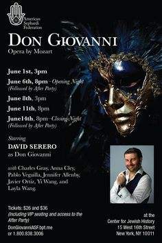 Don Giovanni starring David Serero coming next month in New York #dongiovanni #opera #davidserero