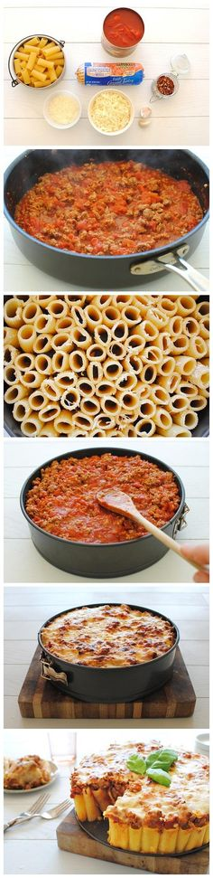 Rigatoni Pasta Pie Ingredients  1 tablespoon extra-virgin olive oil 1 pound ground turkey 3 cloves garlic, minced 1 pinch crushed red pepper flakes 1 pinch coarse salt and freshly ground pepper 1 (28 ounce) can Muir Glen organic whole peeled tomatoes, crushed with your hands 1 pound rigatoni pasta 1 cup freshly grated parmesan cheese 2 cups shredded mozzarella