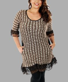 Love this Brown & Black Stripe Lace Tunic - Plus on #zulily! #zulilyfinds