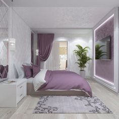 purple bedroom ideas , purple bedroom ideas for adults , purple bedroom ideas for teenage girl , purple bedroom ideas master bedroom Small Bedroom Designs, Bedroom Bed Design, Modern Bedroom Design, Home Interior Design, Living Room Designs, Modern Room, Modern Interior, Purple Bedroom Decor, Purple Bedrooms