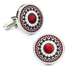 These Silver & Scarlet Rhodium Plated Men's #Cufflinks make a great #gift for a #Valentine this year if you are still looking.