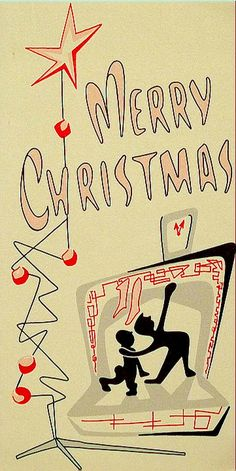 Mid-century modern hearth and Christmas tree scene,