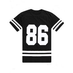 Black Oversized 86 Graphic Varsity Tee ($21) ❤ liked on Polyvore featuring tops, t-shirts, shirts, black, striped shirt, short sleeve shirts, jersey shirts, short-sleeve shirt and stripe t shirt