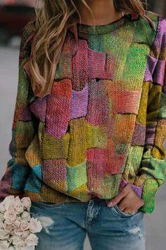 Retro Sweatshirts, Sweatshirts Online, Damen Sweatshirts, Hoodies, Moda Hippie, Plus Size Chic, Sweat Shirt, Types Of Sleeves, Ideias Fashion