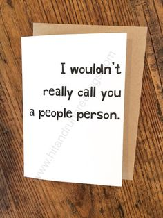 Card #167:  People person ...