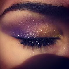Shimmery glitter galaxy purple and brown eye makeup