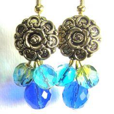 Glam Flower Earrings Vintage Style by flirtyfashionjewelry on Etsy Flower Earrings, Drop Earrings, Vintage Style, Vintage Fashion, Vintage Earrings, Pretty Flowers, Handmade, Stuff To Buy, Etsy