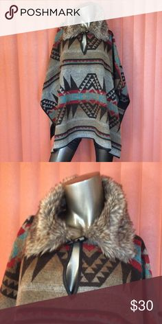 Aztec print poncho! Never been worn! 🍁 Aztec print poncho! Never been worn, excellent condition. 🍁⚡️⚡️⚡️ Forever 21 Jackets & Coats