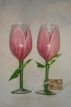 Hand Painted PERSONALIZED Pink Tulip Wine Glasses by samdesigns22