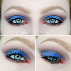 """""""Into the BLUE"""" By Dressed-In-Mint using the Makeup Geek Corrupt, Cupcake, Drama Queen, Mango Tango, Neptune, Unexpected, Vanilla Bean, and Lemon Drop eyeshadows."""
