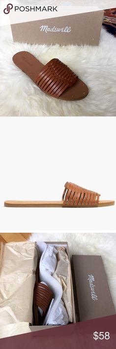 NWT Madewell Willa Leather Slide in English Saddle Brand new in box. Was hoping these would fit, but they are true to size and too small for me. Perfect for spring and summer. Will go with everything! Madewell Shoes Sandals