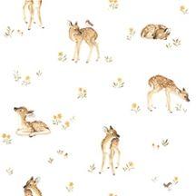 Papier peint vintage enfant faon- décoration enfant - LILIPINSO Retro, Dogs, Animals, Baby Deer, Fine Art Paintings, Nursery, Animales, Animaux, Doggies