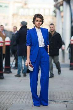Cobalt blue pants suit