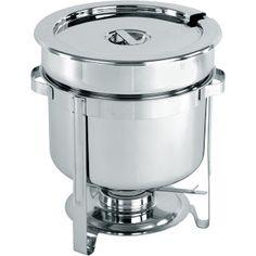 Chafing Dish- Vas de Incalzire a Supei;  Din otel cromat; include vasul de incalzit, suportul pentru combustibil chafing dish, si vasul din otel inoxidabil; Capacitate de 10 litri; Dimensiuni: Ø370 x (H)345 mm: