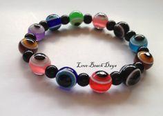 Evil Eye Bracelet Stretchy Multi color Beaded by LoveBeachDays, $5.00