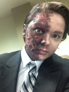 Finished makeup for Two Face Harvey Dent Halloween 2014 costume Burned face Batman