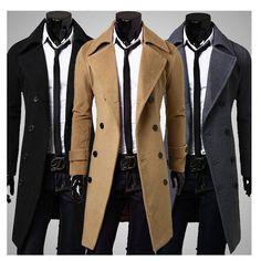 S590 2015 HOT moda nuevos men largas trench coat doble de pecho abrigos de invierno yardas grandes para hombre lana doble capa de pecho