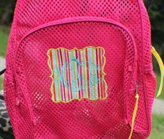 Clear Mesh Backpack Personalized Applique Book Bag With Ruffle