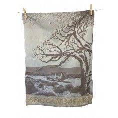 African safari brown tea towel