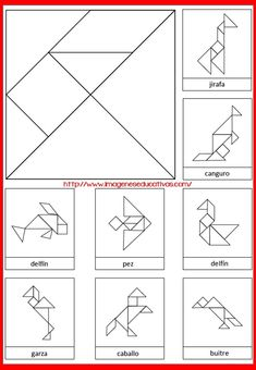Math Games, Preschool Activities, Tangram Printable, Tangram Puzzles, Coding For Kids, Kindergarten Math, Pattern Blocks, Kids Education, Math Centers