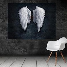 Angel Wings Canvas Art Piece, Black and White Rouse the Room Cheap Artwork, Modern Artwork, Canvas Artwork, Canvas Art Prints, Canvas Wall Art, Angel Wings Wall Decor, Wing Wall, Wall Ornaments, Wall Art For Sale