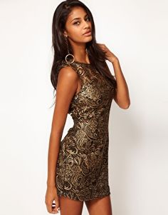 Enlarge Lipsy Lace Dress With Metallic Print