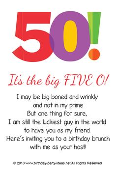 Themes for 50th Birthday Party Invitations #party #birthday # ...