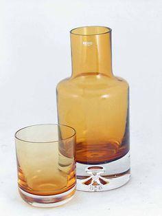 Krosno Crystal Pohland Amber Glass Bubble Carafe Decanter Bedside Glass Set of 2 on eBay!