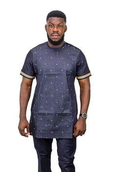 mens Jeans – High Fashion For Men African Men Fashion, African Wear, Mens Fashion, Fashion Wear, Fashion Dresses, Jean Shirts, Denim Shirt, African Shirts For Men, Embellished Jeans